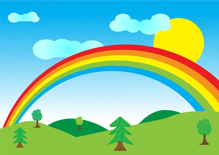 Vector illustration of summer landscape with rainbow. Vector