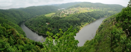 Panorama view from Bednar hill on the Vltava river and Slapy dam