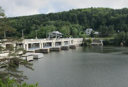 Water dam Slapy on Vltava river in Czech Republic