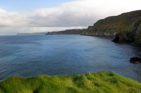 View over ocean from Carrick-a-rede island in Northern Ireland  photo