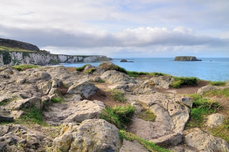 Carrick-a-rede island landscape in Northern Ireland  photo