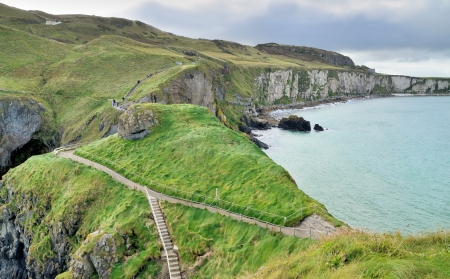 Footpath to the Rope bridge, Carrick-a-rede island  photo