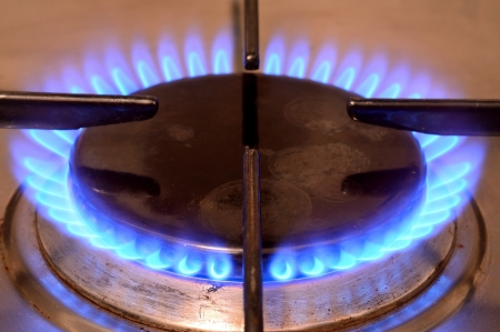 Closeup shot of fire from gas kitchen stove Stock Photo - 17249385