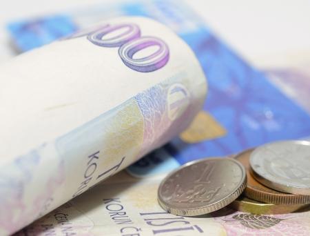 チェコの通貨紙幣、硬貨およびクレジット カード 写真素材