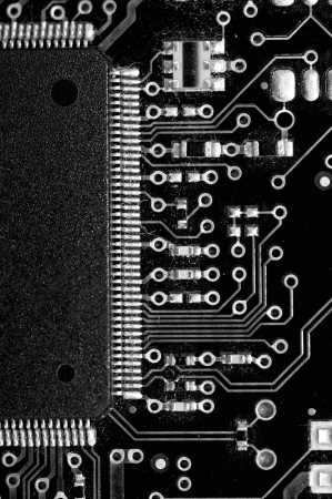 Macro black and white shot of old motherboard  photo