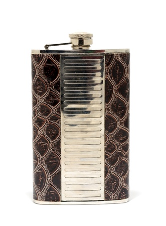 hip flask: Metal hip flask placed on a white background