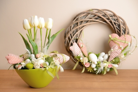 The spring decoration placed on the wood desk Stock Photo - 18116138