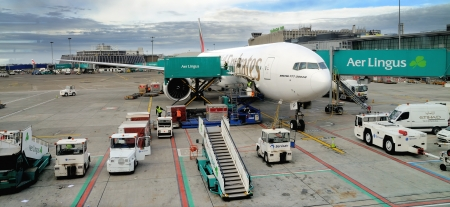 DUBLIN, IRELAND  - OCTOBER 30: Emirates Boeing 777-300, flight no. EK162 before departure at Dublin Airport on October 30, 2012 in Dublin, Ireland. Emirates is one of the biggest airline in the world and flies roughly 2400 passenger flights per week.