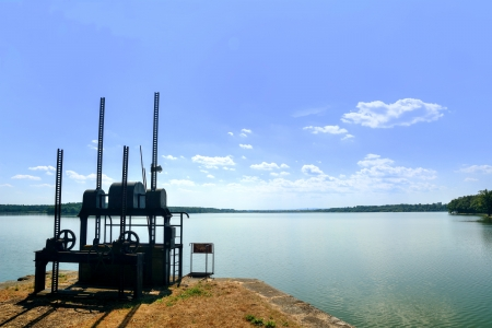 sluice: Sluice gate on the Rozmberk pond, biggest pond in the Czech Republic