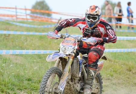 UHLIRSKE JANOVICE, CZECH REPUBLIC � AUGUST 24  Unidentified rider in the European enduro championship on August 24, 2013 in Uhlirske Janovice, Czech Republic