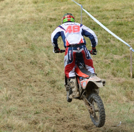 UHLIRSKE JANOVICE, CZECH REPUBLIC – AUGUST 24  Unidentified rider in the European enduro championship on August 24, 2013 in Uhlirske Janovice, Czech Republic