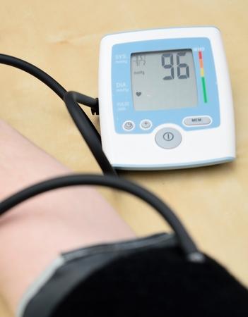 diastolic: Instrument for measuring blood pressure on hand  Closeup shot
