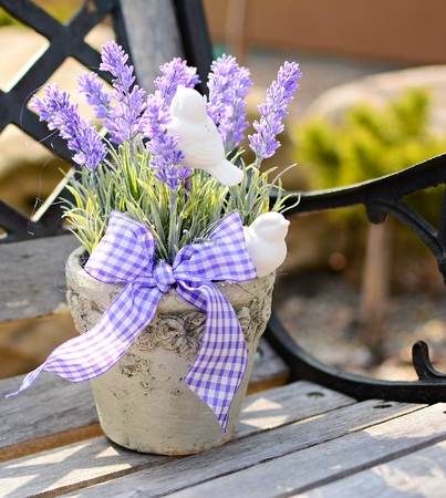 Lavender in the old pot on the bench  Home decoration  photo