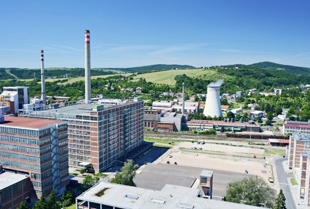 View to the Zlin city, Czech Republic  Industrial district  photo