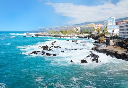 Puerto de la Cruz city coast in the Tenerife, Spain. Stock Photo