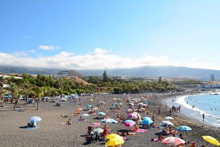 PUERTO DE LA CRUZ - SEPTEMBER 09: Playa Jardin beach on September 09, 2014 in Puerto de la Cruz, Tenerife, Spain. Playa Jardin beach is most known beach in the north of Tenerife.