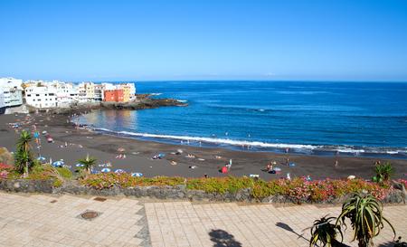 PUERTO DE LA CRUZ - SEPTEMBER 10: Playa Jardin beach on September 10, 2014 in Puerto de la Cruz, Tenerife, Spain. Playa Jardin beach is most known beach in the north of Tenerife.