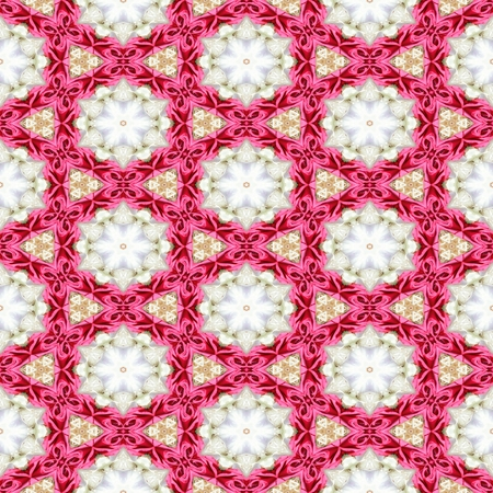 pink ribbons: Pink white decorative kaleidoscope mosaic with star shapes and pink ribbons. Stock Photo