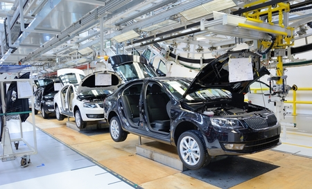 MLADA BOLESLAV CZECH REPUBLIC  MAY 30: Doors Open Day at Skoda Auto a.s. factory. Skoda auto celebrated 120 years since its founding by Laurin  Klement on May 30 2015 in Mlada Boleslav.