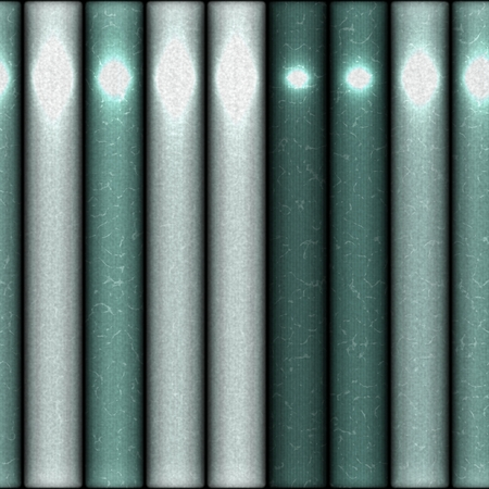 light reflection: Green shiny pipes lying side by side with light reflection. Stock Photo