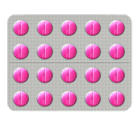 bubbly: Illustration of a pink antibiotic pills in a bubbly blister pack isolated on a white background.