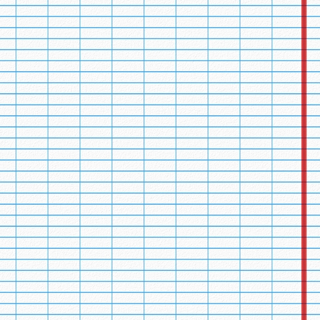 at the edge of: Blank sheet with blue lines and red edge from the notebook.
