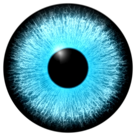 Illustration of a purple eye with light reflection on a white background.