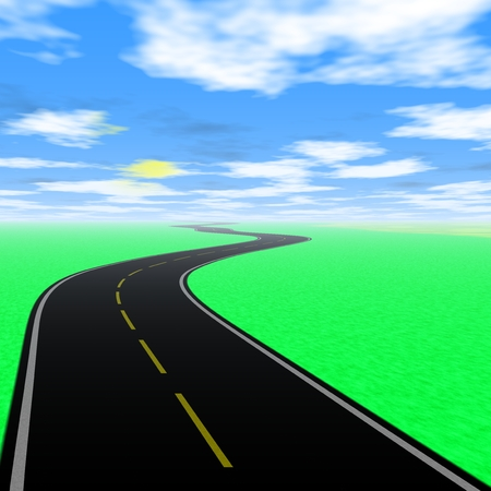 green land: Empty road landscape with green land and blue sky. Generated illustration. Illustration