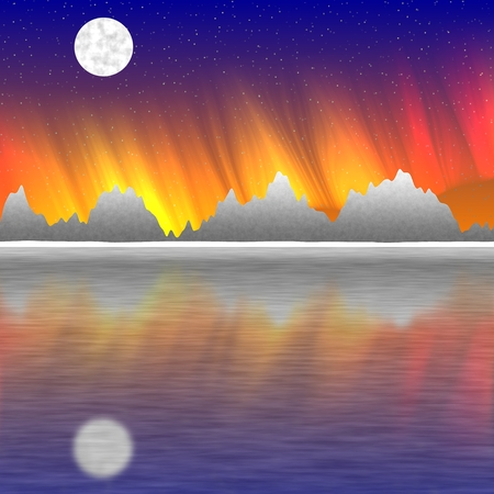 sunset sky: Abstract landscape with sunset sky, water and moon. Illustration