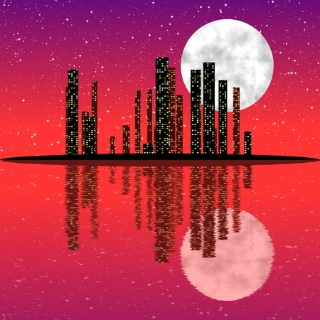 water reflection: City skyline at night with moon and with reflection in the water.
