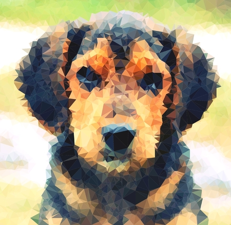 beagle puppy: Abstract polygonal portrait of the cute young beagle dog on a green background.