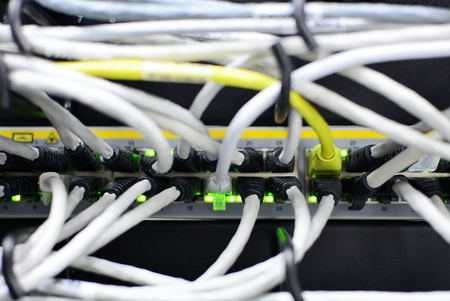 switch plug: White networking patch cables plug to the ethernet RJ45 port in networking switch. Green led lights. Stock Photo
