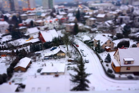 City shot with tilt shift effect at winter. Stock Photo