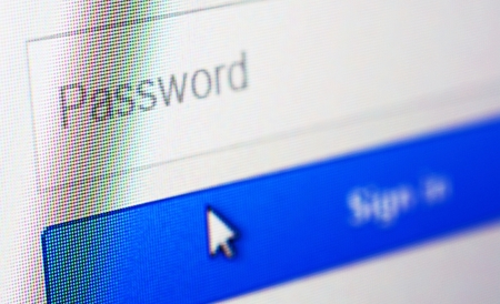 blue button: Password blank form and arrow cursor at login screen on the web site.