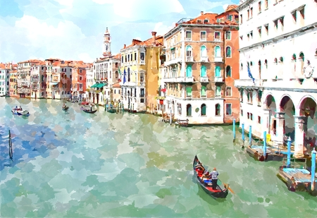 Abstract watercolor digital generated painting of the main water canal, houses and gondolas in Venice, Italy.