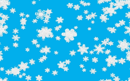 fallen: Snowfall illustration with fallen snowflakes on blue background.