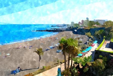 Abstract watercolor digital generated painting of the Playa Jardin beach in Puerto de la Cruz, Tenerife.