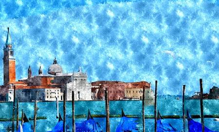 venice italy: Abstract watercolor digital generated painting of the Church of San Giorgio Maggiore with gondolas in front in Venice, Italy. Stock Photo