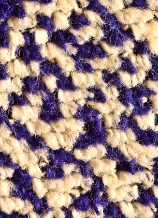 fibres: Extreme macro of the white and blue textile fibres. Fibre structure. Textile structure.
