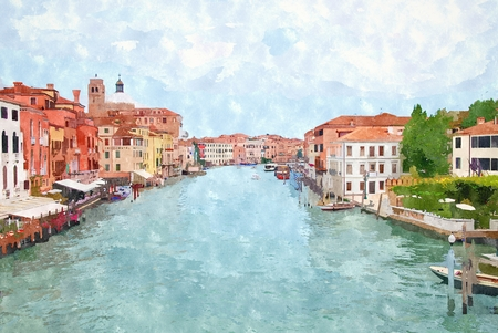 canal: Abstract watercolor digital generated painting of the main water canal in Venice.
