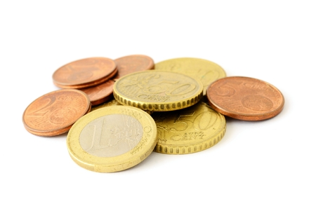 nominal: The pile of Euro coins in various nominal value on a white background. Stock Photo