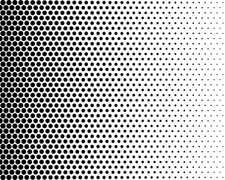 black and white: Basic halftone dots effect in black and white color. Halftone effect. Dot halftone. Black white halftone. Stock Photo