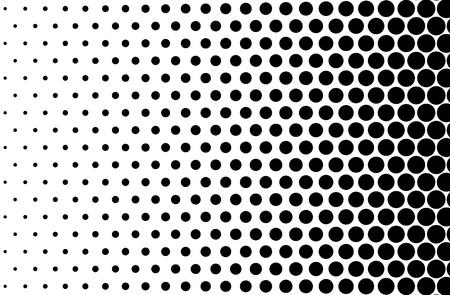 기본 하프 톤 도트 효과가 흑백으로 나타납니다. 하프 톤 효과입니다. 도트 하프 톤. 블랙 화이트 하프 톤입니다. 하프 톤 배경입니다. 오른쪽에서 왼쪽 스톡 콘텐츠