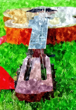 neck: Abstract watercolor digital generated painting with closeup of guitars neck lies on the ground.