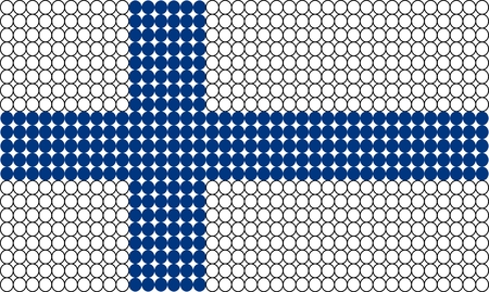 made in finland: Abstract dotted flag of Finland made from small dots or circles.