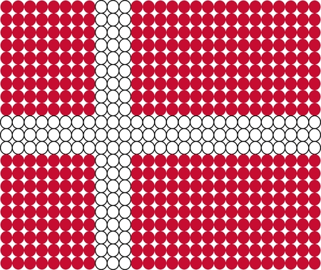 danish flag: Abstract dotted flag of Denmark made from small dots and circles.