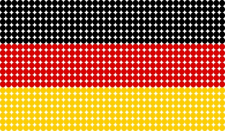 Abstract dotted flag of Germany made from small dots and circles.