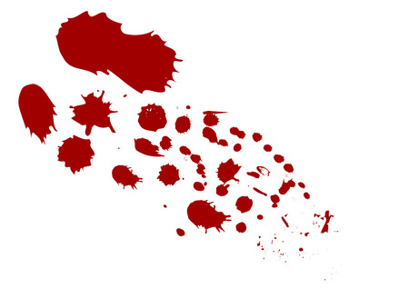 of them: Blood stains on white background. Stains are divided to separate groups for better work with them.