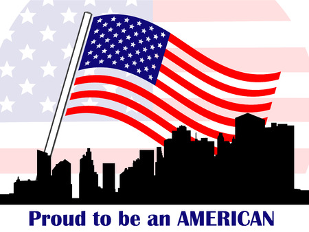 The Stars and Stripes American flag waving in the breeze over an symbolized by Manhattan skyscrapers Shown in silhouette with the words Proud to be American, white background. Ilustracja