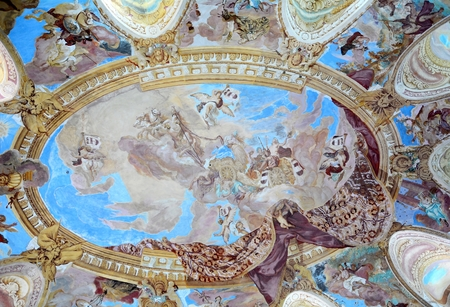 rebuild: VRANOV NAD DYJI, CZECH REPUBLIC - JULY 29, 2016: Typical interior ceiling painting in Vranov nad Dyji castle. First mention about the castle is from year 1100. The castle was rebuild to a baroque after big fire in the 17 century.